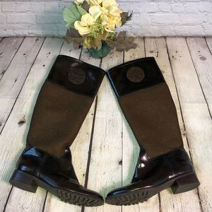 Tory Burch brown boots with brown flannel